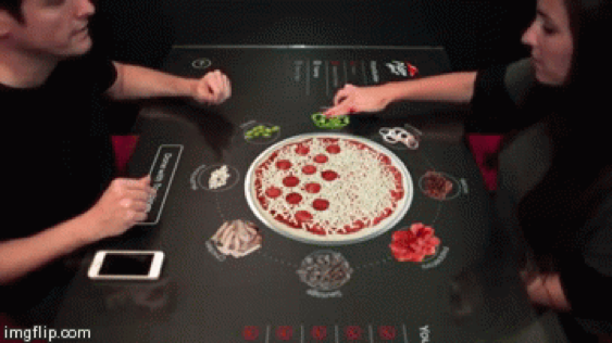 Digitale pizza tafel